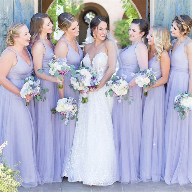 2019 New Lavender Tulle Dress For Bridesmaid Sweetheart Spaghetti Strap A  Line Long Formal Dresses Cheap Wedding Guest Gowns f2be10877d83