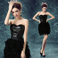 Ready 2017 In Stock Feather Sequins Black Maid of Honer wedding Guest dress Women Bridesmaid Dresses Wedding part dress
