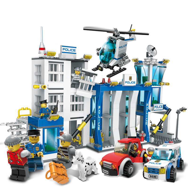 870Pcs City Police Station Big Building Blocks Bricks Helicopter boys Toys Birthday Gift Toy Brinquedos Compatible with Legoing 442pcs police station building blocks bricks educational helicopter toys compatible with legoe city birthday gift toy brinquedos