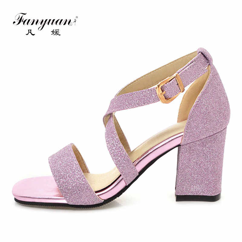 Fanyuan 2018 Summer Ladies Sandals Bling Ankle Strap Women's High Heels Purple Peep Toe Sexy Ladies Nightclub Shoes Size 32-43