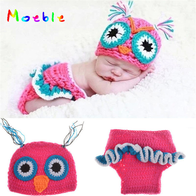 Hot Pink Baby Girl OWL Outfits Crochet Baby Owl Hat Newborn Baby OWL  Outfits for Photo Shoot Girl Photography Props MZS-15022 a811cd945d4