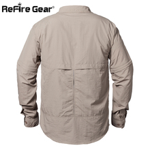 ReFire Gear Summer Army Tactical Shirt Men Quick Dry Pockets Cargo Military Shirt Spring Breathable Removable Long Sleeve Shirts
