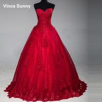 Real Photo Elegant Sweetheart Design Red Evening Dresses 2018 Strapless Sequined Party Gown Vestido De Festa