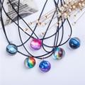 Collares Duplex planeta cristal estrellas bola cristal galaxia patrón cuero cadena colgantes Maxi Collar para mujer novia regalo