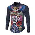 Brand 2017 Fashion Male Shirt Long-Sleeves Tops Digital Print Pattern Long Sleeves Mens Dress Shirts Slim Men Shirt 2XL DHH