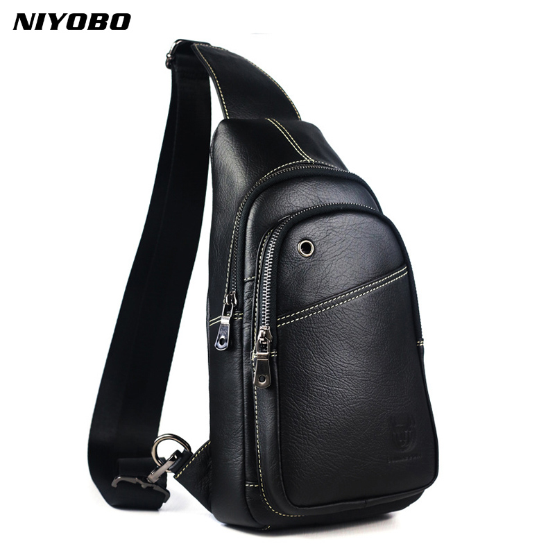 NIYOBO Genuine Leather Men Crossbody Chest Day Pack Design Male Backpack Real Leather Casual Man travel chest pack Sling Bag 2018 new travel luggage genuine leather men backpack string wear resisting man concise fashion pack student bag pr008134