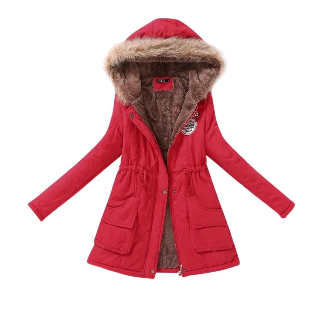 Supply Zacoo Women Long Warm Fleece Coat With Hood Fluffy Collar Tight Waist Cotton Jackets