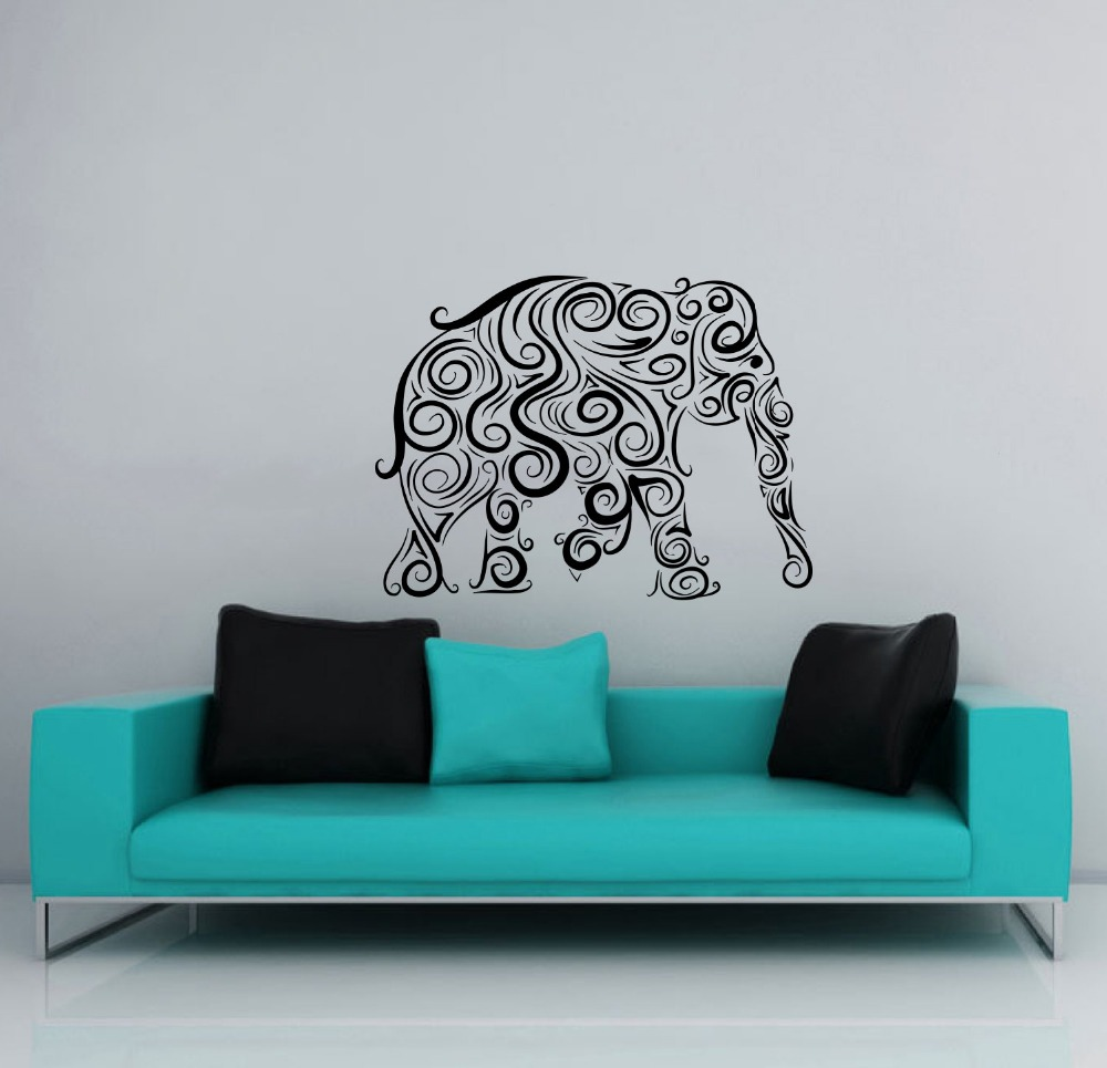 popular tribal wall decals buy cheap tribal wall decals lots from large bohemian elephant silhouette wall stickers home room religious series decor wall decals tribal patterned murals