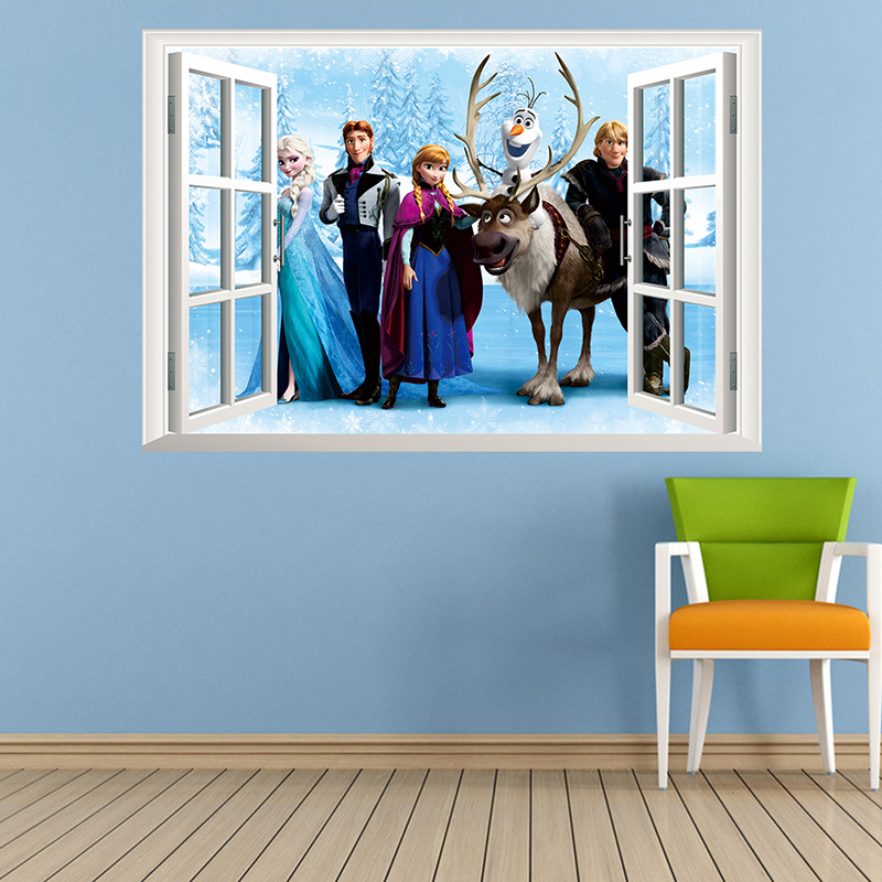 Cartoon Olaf Sven Kristoff Hans Anna Elsa 3D Window Frozen Wall Stickers Home Decoration Anime Movie Mural Art Kids Room Decals