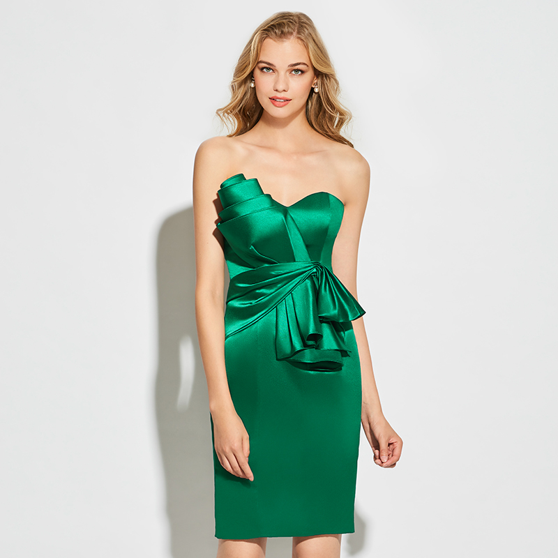 Tanpell strapless   cocktail     dress   dark green sleeveless above knee sheath   dress   women party sexy customed short   cocktail     dresses