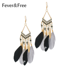 Купить с кэшбэком Fever&Free 2019 Fashion Colorful Beads Res Feather Drop Earrings Ethnic Bohemia Long Dangle Earrings Handmade Woman Jewelry Gift