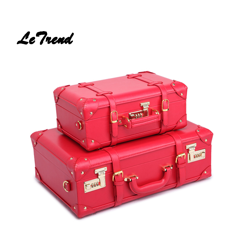 LeTrend Red Wedding Suitcase Women Vintage Leather Trolley Travel Bag Student Password Trunk Carry On Luggage Hardside