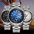 2016 Sports Wach Top Luxury Brand BOSCK Watches Men Stainless Steel Strap Waterproof Quartz Watch Men Calendar Relogio Masculino