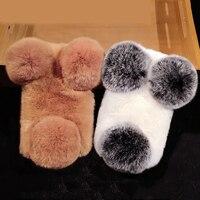 Luxury Woman Lady Fluffy Winter Warm Soft Wool Rabbit Hair Phone Case Cover For Samsung Galaxy