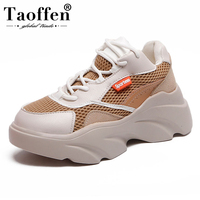 Taoffen Women Vulcanized Shoes New Style Sneakers Lace Up Casual Shoes Women Daily Vacation Hiking Footwear Size 35 40