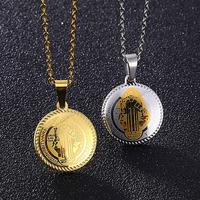 Vintage Gold St. Benedict Necklace San Benito Medal Pendant Stainless Steel Religious Catholic Pendants for Protection Jewelry