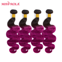 Miss Rola Hair Pre-colored Ombre Indian Body Wave Non-remy Hair 4 Bundles #T1B/Purple Color 100% Human Hair Weaving  Extensions