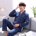 2017 spring and summer pajamas men long cotton spring and autumn spring men's pajamas cotton men's large size home service suit