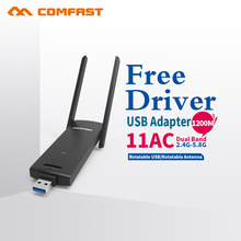 COMFAST usb wifi adapter 1200mbps 802.11ac/b/g/n 2.4Ghz + 5.8Ghz Twin Band wi-fi dongle pc AC Community Card USB antenna
