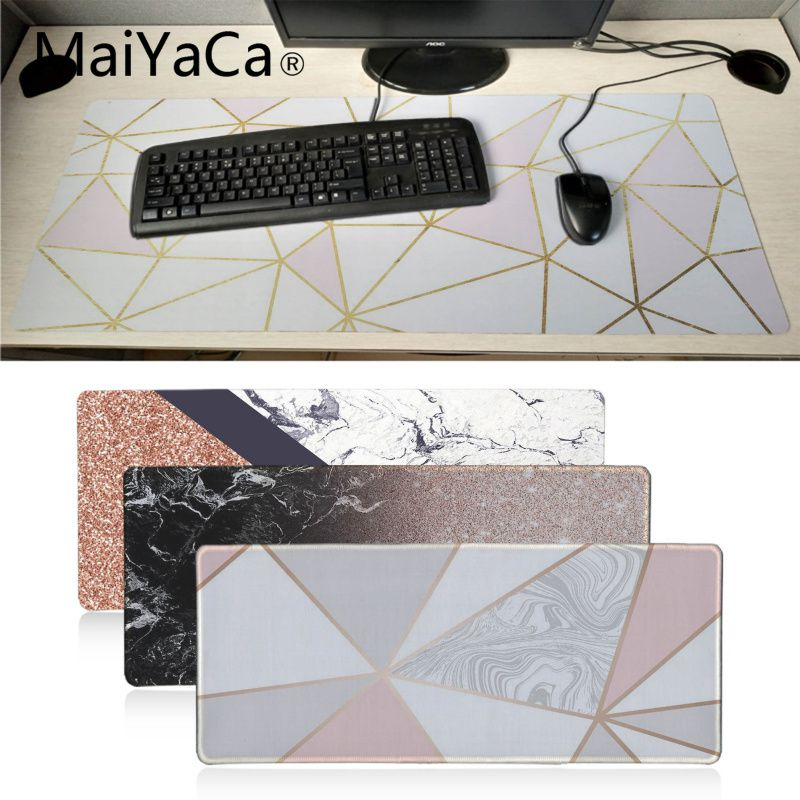MaiYaCa Cool Rose Gold Marble Keyboard Mat Desk Mat Durable Desktop Mousepad Rubber Professional Gaming Mouse Pad Computer