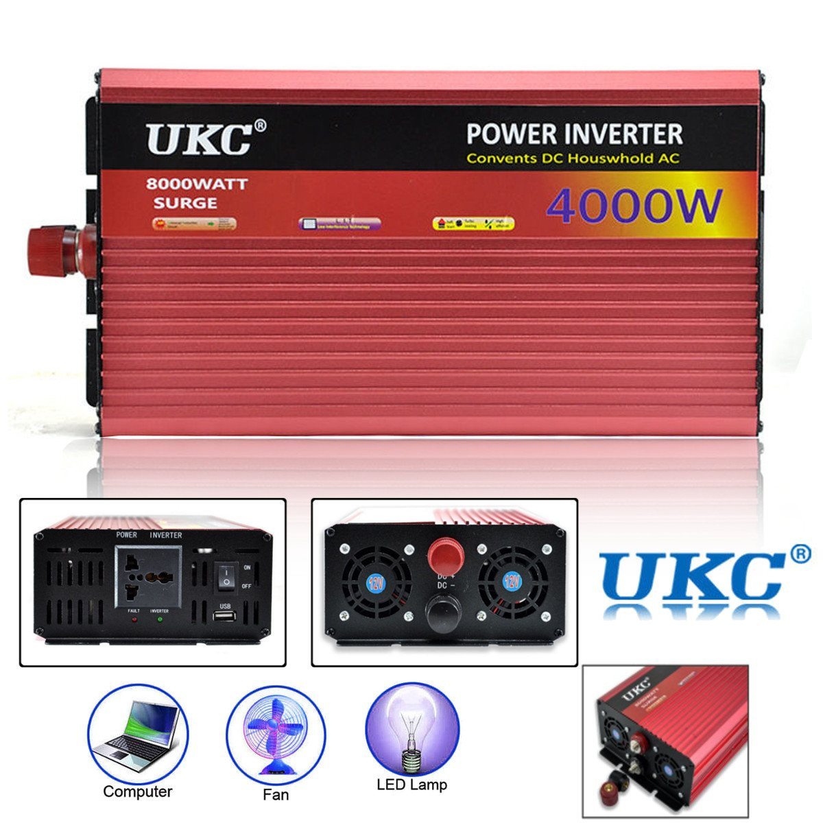 Onduleur 12 V 220 V 4000 W 8000 W Pic-Onde sinusoïdale Modifiée Power Inverter DC12V à AC220V tension Transformateur Convertisseur USB