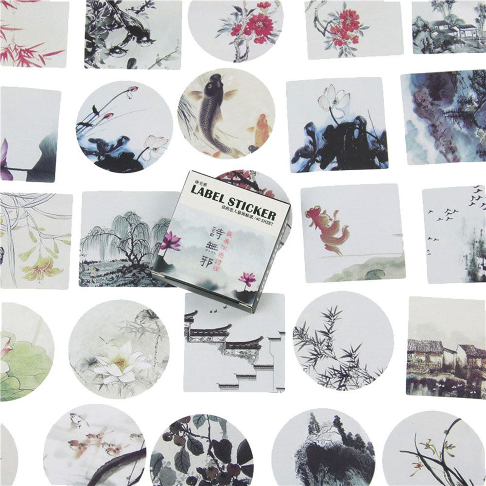 40Pcs/Pack Traditional Chinese Painting Stickers Mini Style Paper Seal Sticker DIY Decoration Circular Label