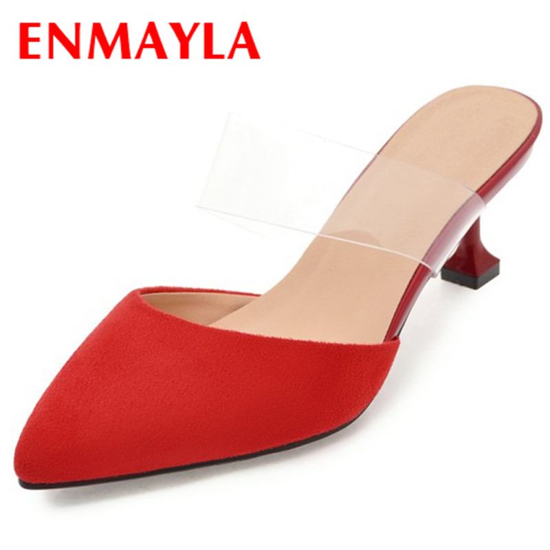 ENMAYLA Red Party Wedding Shoes Woman High Heels Summer Sandals Pumps Slilngbacks Shoes Plus Size 34-43 Pointed Toe Office Lady ladies red shoes 2018 spring patent cross straps gladiator pointed toe sandals women high heels party wedding pumps shoes 43