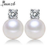 LMNZB 100% auténticos pendientes de perlas blancas de agua dulce joyería de circonita pendientes de plata para mujeres con caja de regalo LED190