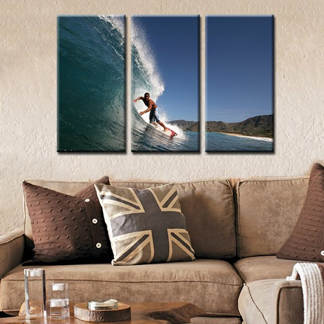 3 pieces canvas wall art prints surfing cool sport home decorations artwork sea wave seascape painting