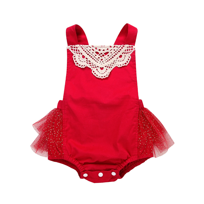 pudcoco princess baby girl romper Newborn Baby Girl red laceTutu