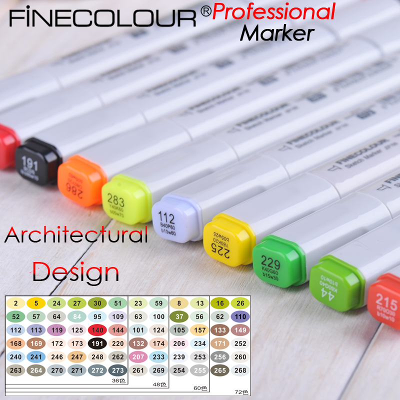 Finecolour-One Architectural Design Marker Pen Neutral Ink  Manga cartoon Sketch art Draw Liners touchnew 60 colors artist dual head sketch markers for manga marker school drawing marker pen design supplies 5type