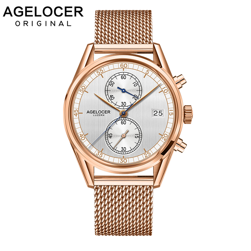 Mens Watches Swiss Top Brand AGELOCER Clock Luxury Gold Watch Man 2019 Chronograph Sport Watches For Men Relogio Masculino