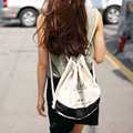 Fashion Canvas Beach Bag Printing Drawstring Backpack Women Girls Shoulder Bag Small Mini Travel Storage Bag Beam Port B-6102301