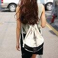 Moda Praia Saco de Lona Impressão Cordão Mochila Mulheres Meninas Bolsa de Ombro Pequeno Mini Porta Feixe Saco de Armazenamento de Viagem B-6102301