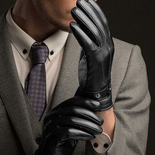 Warm and Comfortable Men Touch Screen Gloves made of Faux Leather with Conductive Fiber Suitable for Bike Riding and Cycling 1