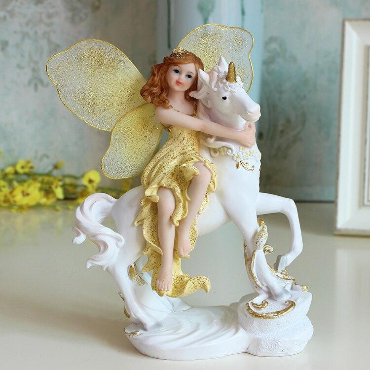 Resin Magic Unicorn Horn Angel Figurine Flower Fairy Horse Craft Miniature Vintage Home Decor Decoration