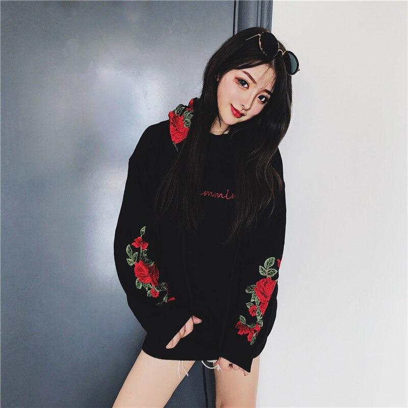 Women Rose Hoodies Sweatshirts Cotton Headwear Us size S XL