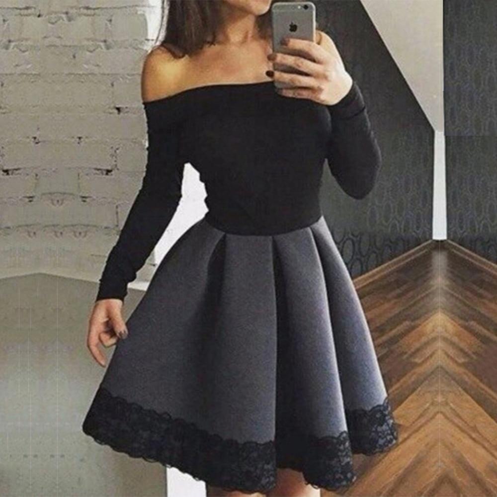 Black dress under white graduation gown - Simple Black White Short Homecoming Dresses Satin Long Sleeve Homecoming Dress Cheap Graduation Gowns Prom Party Dress Hc38