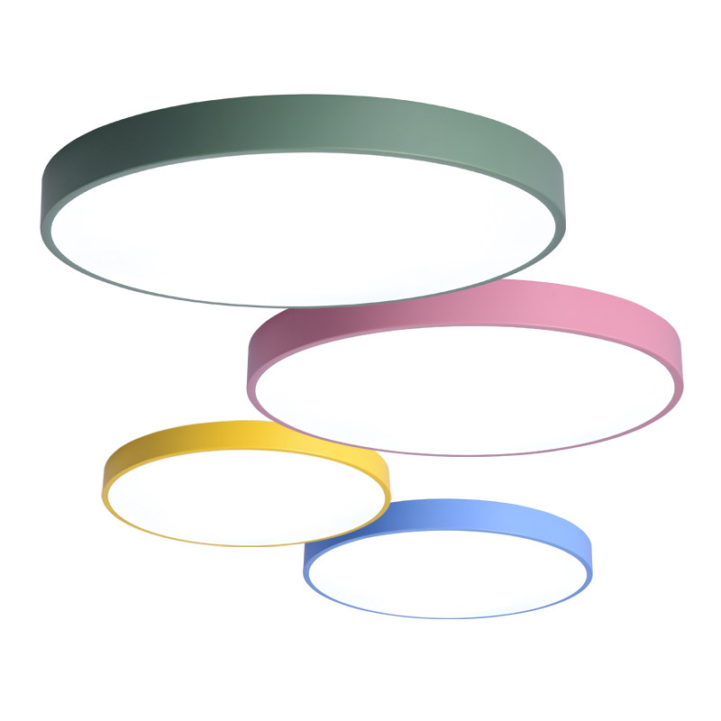 Modern simple LED Disc Ceiling Lamp Kitchen Bedroom only 6cm height colorful Color lamparas techo House Lighting Fixture