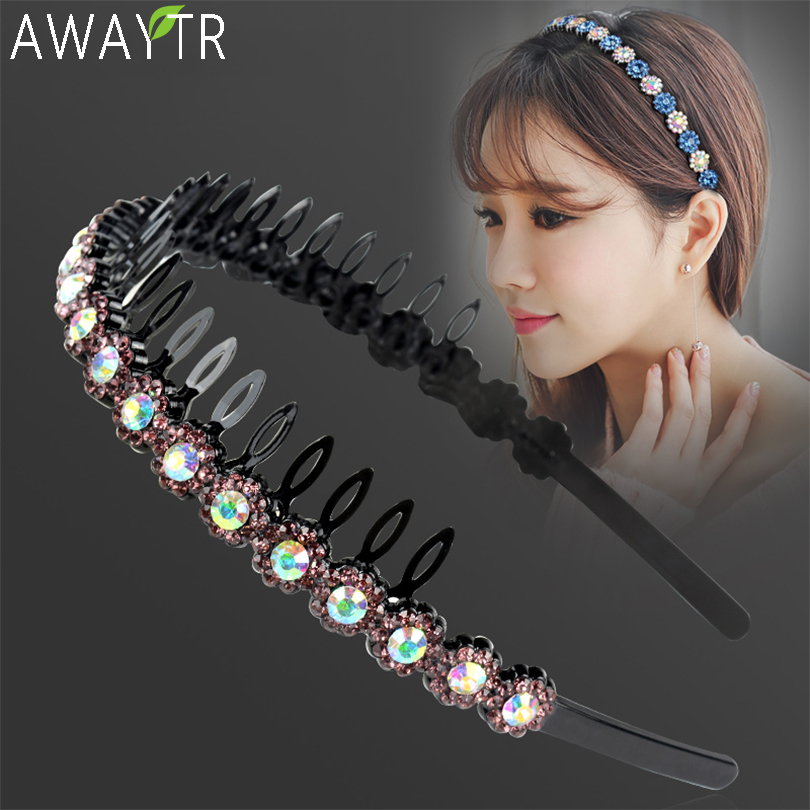 2019 Colorful Rhinestone Flower Hair Hoop Fashion Headband Fixed Hairbands For Women Girls Bezel Hair Band Hair Accessories