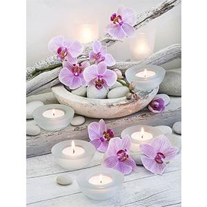 Image 5 - Daimond 그림 5D 전체 광장/라운드 불교 양초와 꽃 다이아몬드 페인팅 라인 석 크리스탈 크로스 스티치 모자이크 160QW