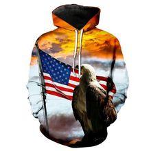 2019 Hoodies Man New Fireworks American Flag Eagle Hoodie Casual Hooded Sweatshirt Pullover hoody Streetwear