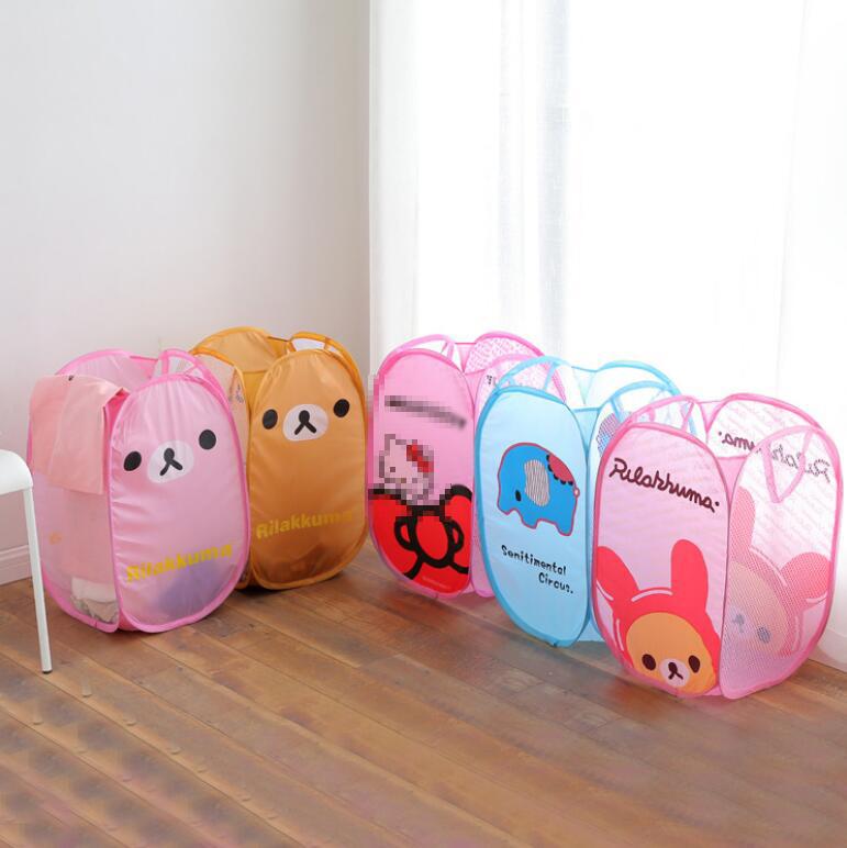 Toys Laundry Nylon Large Capacity Storage Basket Cartoon Printed Storage Basket Folding Bucket Dirty Clothes Sundry Dirty Basket