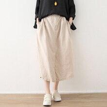 Mori плиссированная Макси-юбка из хлопка и льна с карманами, длинные макси юбки, женские черные однотонные длинные плиссированные юбки с эластичной резинкой на талии, Mujer Falda