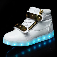 BABAYA High Help Metal Children Light Shoes Leather Boys Girls Led Glowing Shoes Kids Shoes Luminous Sneakers 688