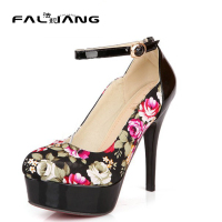 Free Shipping New Fashion Flower Print High Heels Platform Single Shoes Ultra High Heels Patchwork Evening