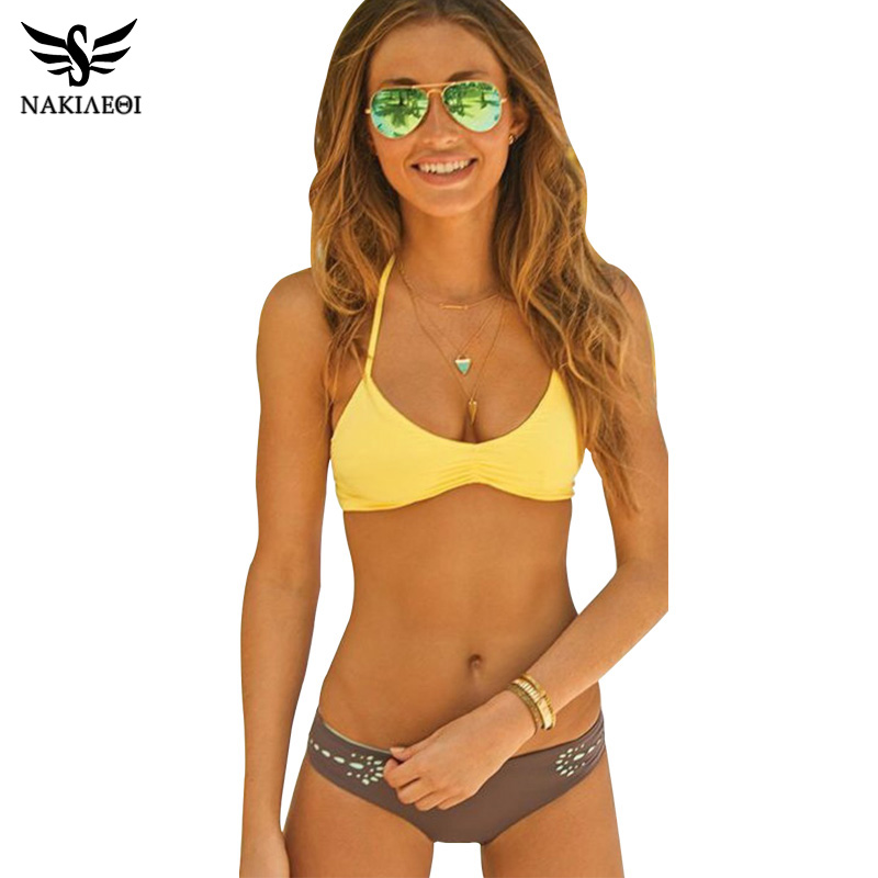 NAKIAEOI Sexy Bikinis Women Swimsuit Swimwear 2017 New Bandage Brazilian Bikini Set Beach Bathing Suit Swim Wear Yellow Biquinis nakiaeoi 2017 new sexy bikinis women swimsuit push up swimwear bandage cut out bikini set halter beach bathing suits swim wear