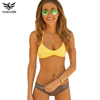 NAKIAEOI 2016 Sexy Cross Brazilian Bikinis Women Swimsuit Push Up Swimwear Fall Floral Criss Bikini Set