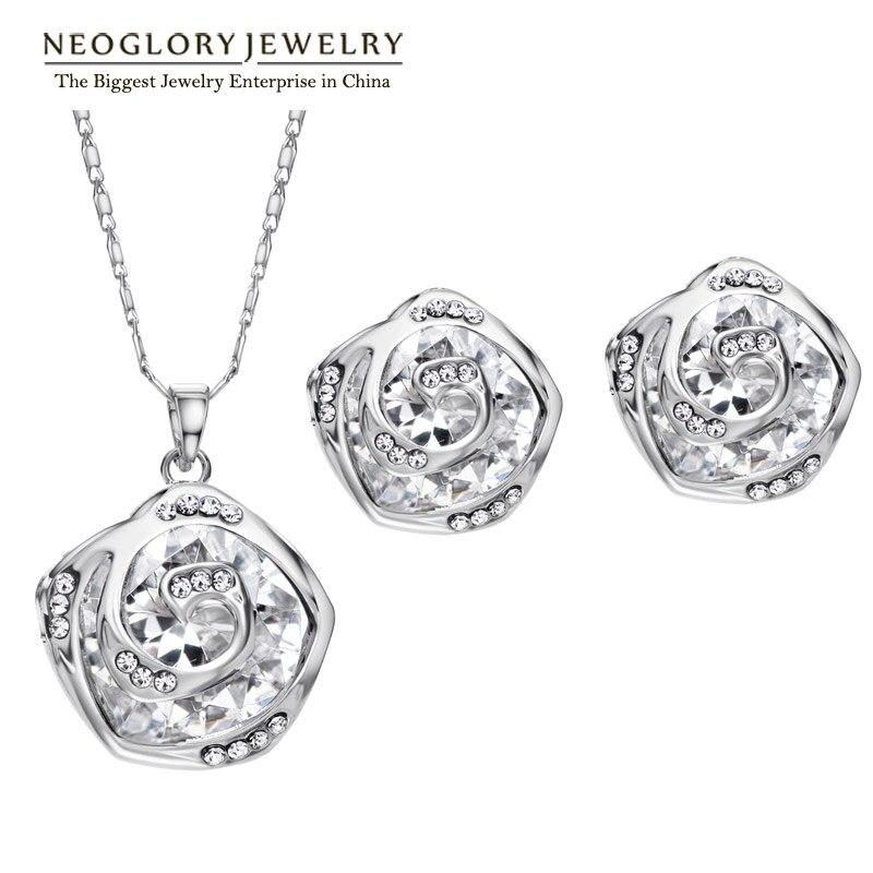 Neoglory Jewelry-Sets Rose-Gold-Color Necklace Earrings Zircon Rhinestone Fashion Women
