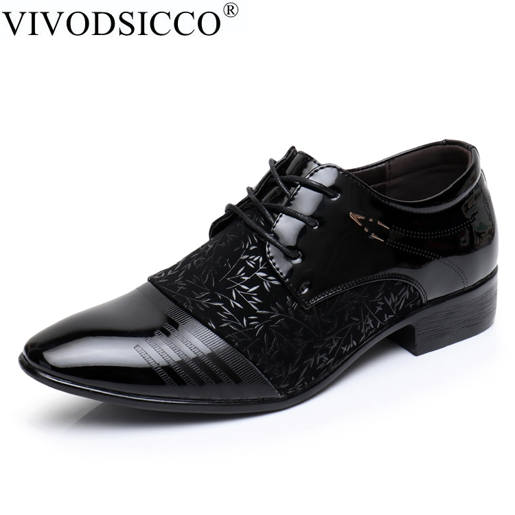VIVODSICCO Fashion Men Office Shoes PU Patent Leather Men Dress Shoes Black Social Sapato Male Soft Leather Wedding Oxford Shoes zobairou sapato social oxford shoes for men genuine leather gold dress shoes men flats spiked loafers wedding shoes